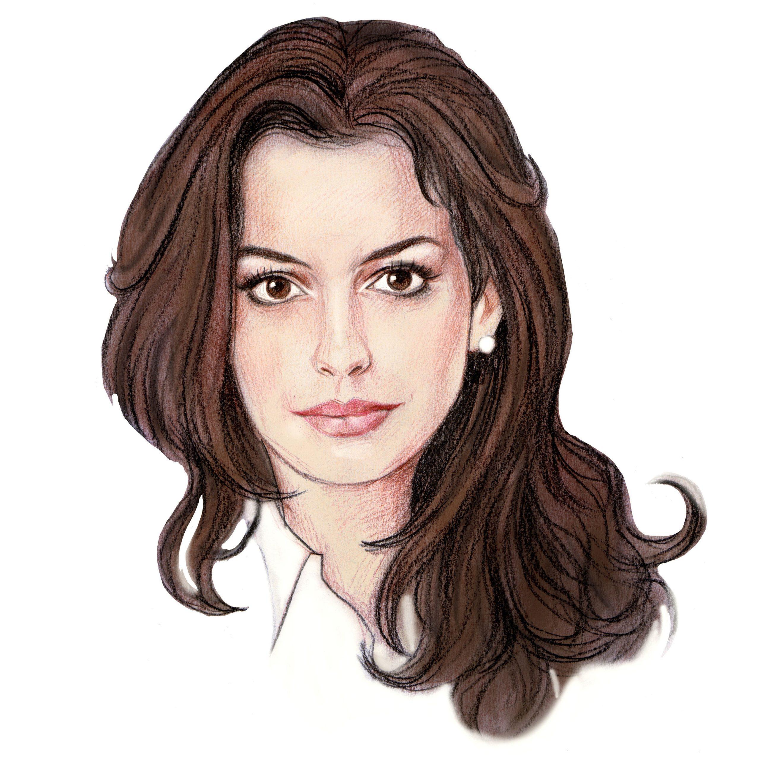 Handgetekend portret van Anne Hathaway