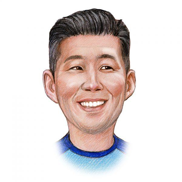 Handgetekend portret van Heung-Min Son