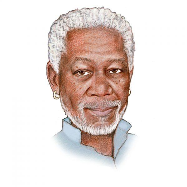 Handgetekend portret van Morgan Freeman