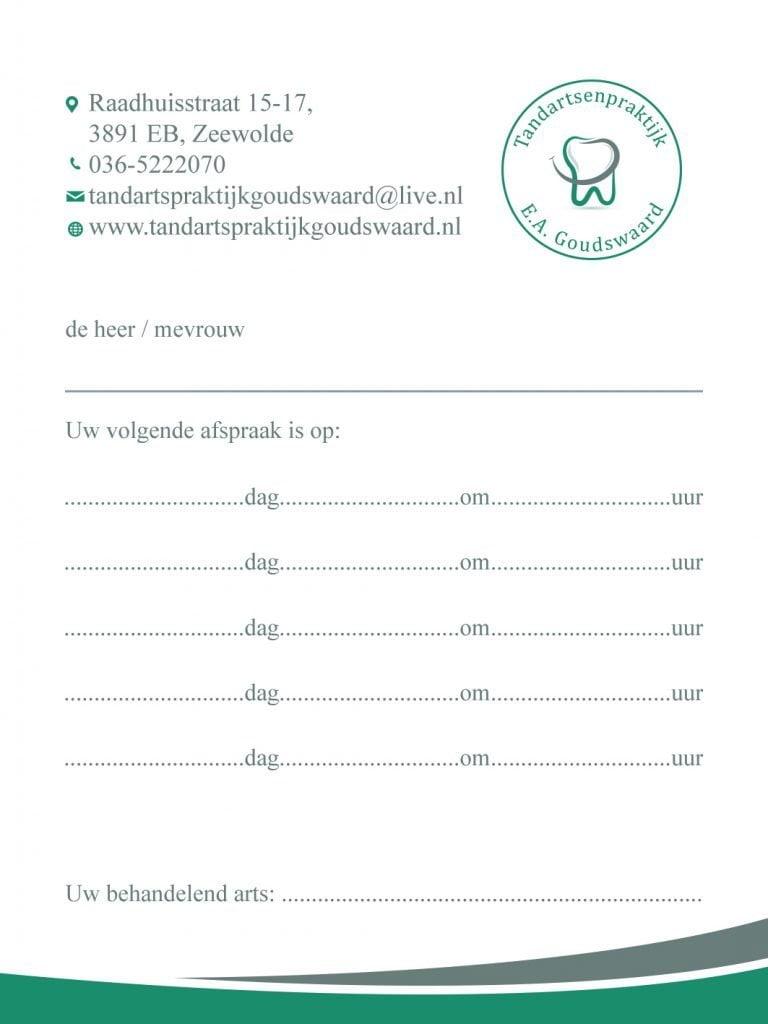 Afspraakkaartje Design | Tandartsenpraktijk E.A. Goudswaard