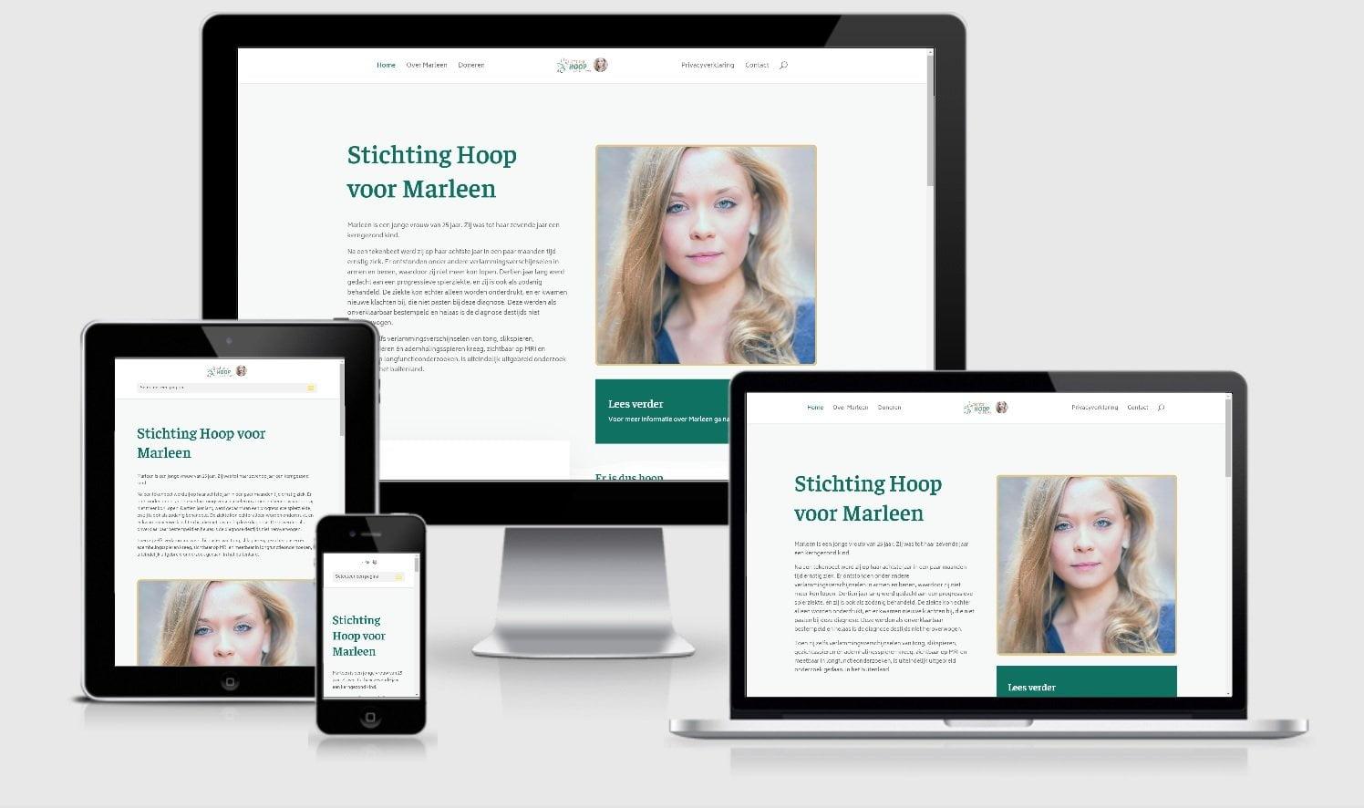Webdesign Mockup Stichting Hoop voor Marleen